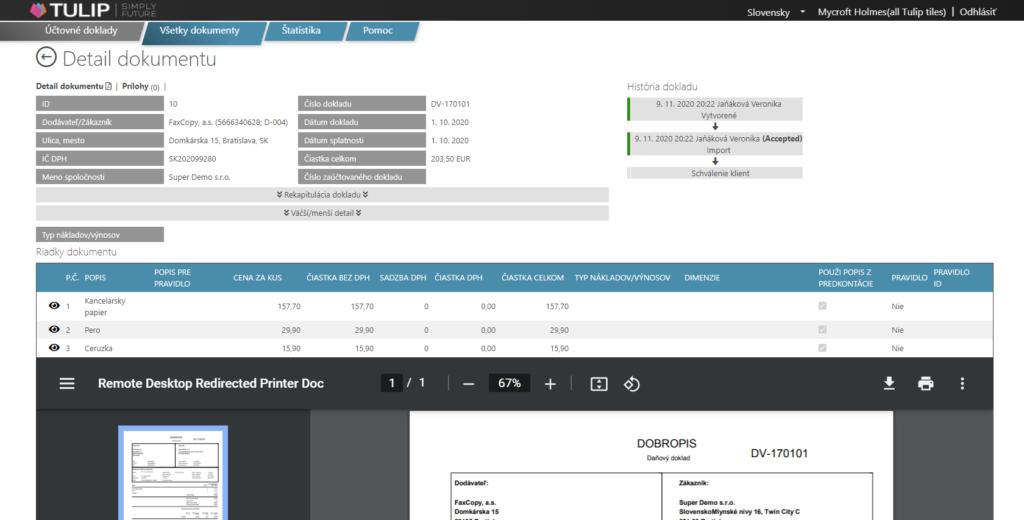 nahlad tulip platformy - uctovny modul - schvalenie dokumentu