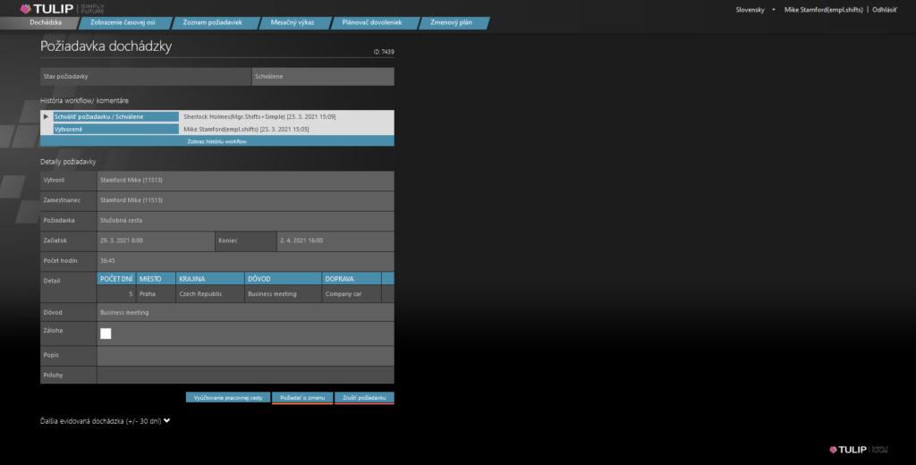 screen portalu tulip - online vyuctovanie pracovnej cesty