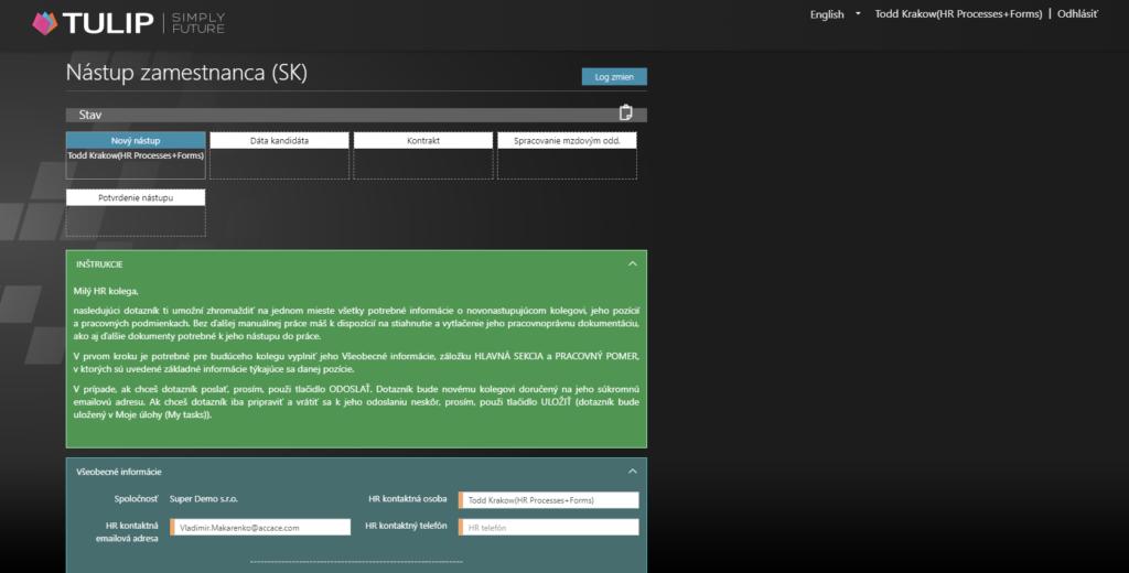 screen platformy tulip - formular nastupu zamestnanca