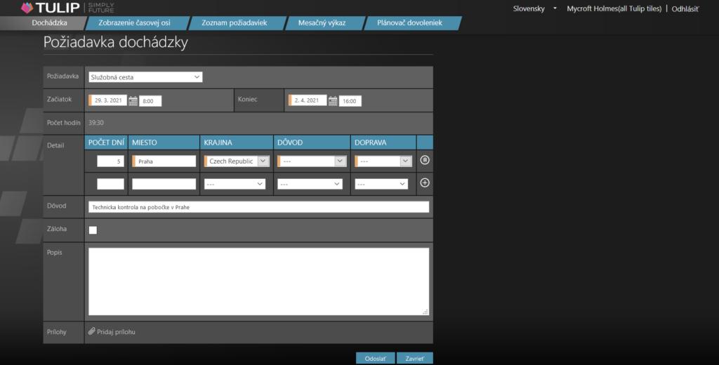 screen portalu tulip - online poziadavka o schvalenie pracovnej cesty