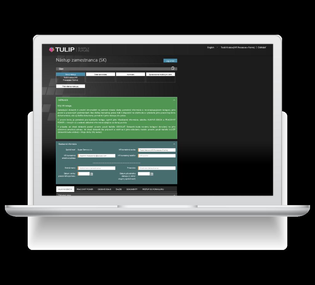 screen z tulip platformy - automatizovany nastup zamestnanca