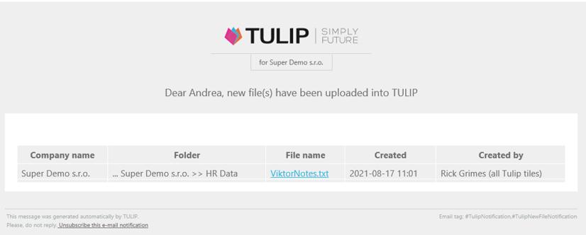 tulip platforma emailova notifikacia o novom dokumente v systeme